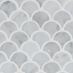Mission Stone Tile - Curve Appeal Mini- Carrara Fan Shaped Mosaic Tiles, Sample - Curve Appeal Fan Shaped Mosaic Tiles- Mini   Sample