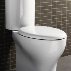 GSI - Round White Ceramic Floor Toilet with Seat and Cover - Made in ceramic and finished with white. This round toilet (part of the GSI City collection) will compliment your contemporary personal bath. Manufactured in Italy by GSI. Floor toilet. Actuator and tank must be purchased separately. Includes seat, cover, and cistern (water entry). Water-saving. 1.2 GPF (Gallons Per Flush). Made of white ceramic. Italian design.