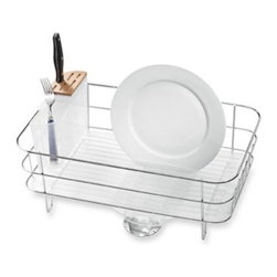Simplehuman - simplehuman Slim Dish Rack - This dish rack fits easily on your counter or anywhere you have limited space due to its slim shape. The drip tray has an integrated stainless steel drain spout so it takes up less space, yet still drains efficiently.