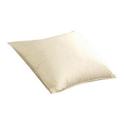 Pacific Coast Feather Company - Pacific Coast Eurofeather Pillow (Single Pack) - Tired of feather pillows that poke, prod and make a mess? The Pacific Coast ® Eurofeather ® pillow is specially crafted with tightly curled duck feathers to eliminate any feathers poking through or escaping the pillow's outer cover. This construction ensures that all of the feathers of your new pillow will remain securely where they belong, under your head instead of all over your bedroom. The traditional, single chamber design of the Eurofeather ® pillow creates a soft to medium support feel that envelopes your head in plush comfort. All of the feather fill comprising the Eurofeather ® pillow are HyperClean ® and backed by an Allergy Free Warranty, unlike some lesser quality feather pillows on the market today.