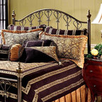 Hillsdale Furniture - Huntley Metal Bed with Heart Designs in Dusty - Choose Size: Full/QueenBring an element of country charm to your home's decor with this charming metal headboard, featuring a heart motif and twisted accents with the look of wrought iron. Topped by sculpted finials, the headboard is finished in dusty bronze tone and is available in your choice of size options. For residential use. Includes bed frame, headboard, 2 post kit and 5 legs with large glides. Sculpted finials. Scroll work with a heart motif. Constructed from tubular steel. Dusty Bronze finishDimensions:. Full/queen headboard: 62.5 in. W x 57 in. H. Full/queen leg: 78 in. W x 83.5 in. H. King headboard: 78.5 in. W x 57 in. H. King leg: 78 in. W x 83.5 in. HFeaturing a dynamic dusty Bronze finish, intricate turnings, and castings, sculpted finials, and scroll work echoing a heart motif, our Huntley headboard is impressive in its stature and detail. This headboard creates an effect that is both traditional and attractive.