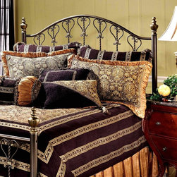 Hillsdale - Huntley Metal Bed with Heart Designs in Dusty - Choose Size: Full/QueenBring an element of country charm to your home's decor with this charming metal headboard, featuring a heart motif and twisted accents with the look of wrought iron. Topped by sculpted finials, the headboard is finished in dusty bronze tone and is available in your choice of size options. For residential use. Includes bed frame, headboard, 2 post kit and 5 legs with large glides. Sculpted finials. Scroll work with a heart motif. Constructed from tubular steel. Dusty Bronze finishDimensions:. Full/queen headboard: 62.5 in. W x 57 in. H. Full/queen leg: 78 in. W x 83.5 in. H. King headboard: 78.5 in. W x 57 in. H. King leg: 78 in. W x 83.5 in. HFeaturing a dynamic dusty Bronze finish, intricate turnings, and castings, sculpted finials, and scroll work echoing a heart motif, our Huntley headboard is impressive in its stature and detail. This headboard creates an effect that is both traditional and attractive.