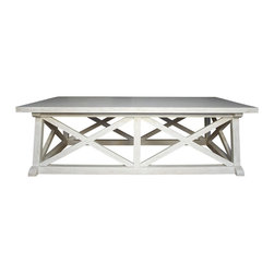 Noir - Noir - Sutton Coffee Table, White Wash - White Washed Mahogany Wood
