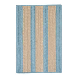 Colonial Mills, Inc. - Indoor/Outdoor Boat House, Light Blue Rug, Sample Swatch - Light blue and beige stripes give this braided synthetic rug a traditional, understated style. Made for practical use indoors or out, it's great for working spaces such as the kitchen or laundry room, or on the pool deck to keep wet feet from slipping.