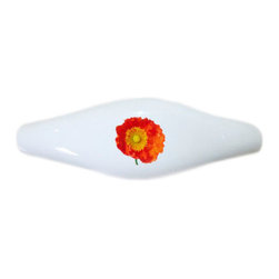 Carolina Hardware and Decor, LLC - Orange Poppy Ceramic Pull Handle, Drawer Pull - New ceramic cabinet, drawer, or furniture pull with mounting hardware included. Pull has standard three inch centers.  Can be wiped clean with a soft damp cloth. Great addition and nice finishing touch to any room!