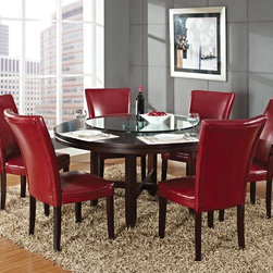 Steve Silver Furniture - Steve Silver Hartford 7 Piece Round Dining Room Set w/ Red Chairs in Dark Oak - The Hartford round dining table is the essence of comfortable contemporary style  designed to bring out the best in dining spaces of all sizes. Made of hardwood solids and oak veneers with a dark oak wood finish  the 62 round dining table has a unique double top design with fancy face oak veneer and seating for up to six.