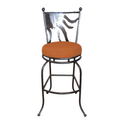 "Surf Side Patio - Cozumel Swivel Bar stool, Tuscan, 24"" Counter Height - Accent your breakfast bar, home bar, tiki bar or patio with the hand crafted, wrought iron Cozumel Swivel Bar stool.  Made from thick guage, powder coated wrought iron, these gorgeous bar stools swivel 360 degrees and bring a tropical touch to any area of your home, indoor or outdoor."