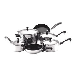 """Farberware - Farberware Classic Series Stainless Steel 10 Piece Cookware Set Multicolor - 712 - Shop for Cookware Sets from Hayneedle.com! The 71237 Classic Series Stainless Steel 10 Piece Cookware Set exhibits a traditional look for revolutionary cookware. Farberware understands the demands of the kitchen and offers quality products that fit your lifestyle. Each pot or pan is constructed of gleaming 18/10 stainless steel that encapsulates a thick aluminum core in the base the """"full cap"""" advantage that allows Farberware Classic cookware to cook evenly without hotspots. Self-basting tempered glass lids allow you to view and cook at the same time. Thick rolled rims add durability and make it possible to pour without dripping. The stainless-steel lids and black phenolic handles in traditional styling can withstand oven heat up to 350 F. Although these pieces are dishwasher safe hand washing them is recommended. If you host lots of get-togethers or you have a large family this set will provide you with years of excellent service. About FarberwareIn 1900 a tinsmith named S.W. Farber set up a shop in Manhattan where he started a small business making bowls and vases out of hand-pounded sheets of copper and brass. Since that time the Farberware company has grown exponentially; in 1930 they introduced their first line of percolators adding small appliances to the list of items for which they were already known. In today's market Farberware is valued for its product innovation. Over the years they have been responsible for such designs as the electric fry pan with removable probe for easy cleaning and the """"Open Hearth"""" smokeless broiler. Quality classic styling and years of tradition go into each Farberware product. With Farberware you know you're not just buying a piece of cookware; you're buying a legacy of great value."""