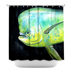 DiaNoche Designs - Shower Curtain Artistic - Deep Sea Life- Mahi Mahi Fish - DiaNoche Designs works with artists from around the world to bring unique, artistic products to decorate all aspects of your home.  Our designer Shower Curtains will be the talk of every guest to visit your bathroom!  Our Shower Curtains have Sewn reinforced holes for curtain rings, Shower Curtain Rings Not Included.  Dye Sublimation printing adheres the ink to the material for long life and durability. Machine Wash upon arrival for maximum softness on cold and dry low.  Printed in USA.