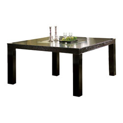 Steve Silver - Movado Table - Indulge that part of you that desires versatility and retro styling. The sleek style of the the Movado dining collection features a deep merlot stained finish with luxurious velvet upholstered chairs.