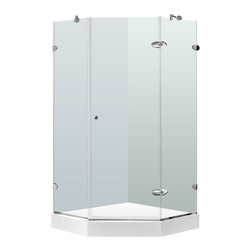 "VIGO Industries - VIGO 38 x 38 Frameless Neo-Angle 3/8"" Shower, Clear/Chrome, With White Base - Both dramatic and space-saving, the VIGO frameless neo-angle shower enclosure creates a beautiful focal point for your bathroom."