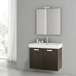 ACF - 30 Inch Customizable Bathroom Vanity Set - Just the bath vanity for a more contemporary bath - start with this bathroom vanity. This wall rectangle bathroom vanity is available in wenge, grey oak, larch canapa, or glossy white and made in the highest quality engineered wood and mirrored glass and ceramic. Made in Italy by ACF. Set Includes:. Vanity Cabinet (1 Door). High-end fitted ceramic sink. Wall mounted medicine cabinet. Vanity Set Features . Vanity cabinet made of engineered wood. Cabinet features waterproof panels. Vanity cabinet in wenge, grey oak, larch canapa, glossy white finishes. Vanity cabinet features one easy-to-open door. Chrome door handle elegantly completes vanity surface. Faucet not included. Perfect for modern bathrooms. Made and designed in Italy. Includes manufacturer 5 year warranty.