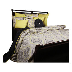 Lemon Tonic Duvet Set, Ultra King - Circular contemporary pattern in Citrin, Midnight Black on Oyster background. Mini print and solids accent this playful look.