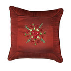 """Brandi Renee Design - Ribbon Embroidered Square Pillow, Burgundy, 16"""" - Our fabulous faux silk pillow blooms with several petite cheery flowers on crisp green leaves. The border around this pillow gives it a clean sleek look to the ribbon pillow and would look great as an accent pillow. Available in colors Burgundy, Copper & Green."""