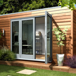 Garden Studio, Modern/Cube - This cube has style in its simplicity. It has large doors to let in the light so you don't feel cooped up in a small structure and I love the wood siding for a natural feel.