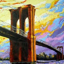Brooklyn Bridge - Original acrylic painting on stretched canvas, 24 x 30 inches