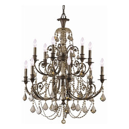 Crystorama - Crystorama 5119-EB-GT-MWP Chandelier - Inspired by traditional European designs, the Regis collection combines hand-painted iron frames with pendalogue shaped crystals and beaded swags. The warm golden teak crystals bring out the gold brushstrokes in the English bronze painted finish, while cl