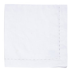 Kim Seybert - Silver and White Pickstitch Napkin - With classic style this white napkin adds a delicate yet striking touch to any setting.