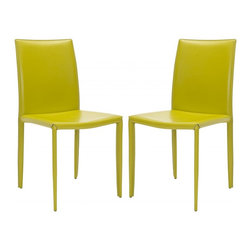 Safavieh - Karna Dining Chair  (Set Of 2) - The minimalist aesthetic of the Karna Dining Chair (sold in a set of two) suits decorating tastes both transitional and contemporary. Upholstered with easy-care avocado bonded leather, these chairs are made withstand wear and tear from demanding guests while exuding Euro-chic style.