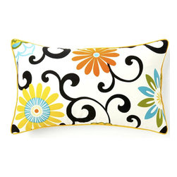 JITI - Small Ply Confetti Cotton Pillow - Fresh and floral, this pretty pillow is sure to put some spring in your decor's step. Adorned with curlicues and sunny blooms, this little accent adds a lot of cheer any space.
