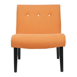 Safavieh - Saleem Chair - The retro-chic lines channeling the office chairs that made their way to living rooms across America in the 60s define the orange Saleem accent chair with ivory edging and buttons. Trendy in its simplicity, Saleem features birch wood legs of the period in black finish, and is upholstered in a blend of viscose and linen yarns for easy care.