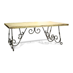 Koenig Collection - French Country Table Lincourt, Antiqued Cloudy White With Grey And Gold Leaf - French Country Table Lincourt, Antiqued Cloudy White with Grey and Gold Leaf