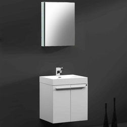 Fresca - Fresca Alto White Modern Bathroom Vanity w/Faucet & Medicine Cabinet - Very handsome in its simplicity, this is a vanity that will move in, not stretch out and take up space, but will instead easily consolidate everything into two pieces. Life will be a less messy affair with this vanity installed. A wonderfully quietly designed piece, will invite everyone to come in and put outside troubles at the doorstep. Complete with a medicine cabinet that can be installed in two ways: wall mounted, or recessed. The Alto is designed to come with the Orba faucet, but you may choose from any of the faucets in the drop down options to customize your vanity, for free.