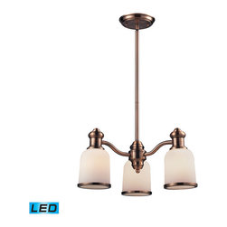Elk Lighting - Landmark Lighting Brooksdale 66182-3-LED 3-Light Chandelier in Antique Copper - 66182-3-LED 3-Light Chandelier in Antique Copper - LED - 800 Lumens belongs to Brooksdale Collection by Landmark Lighting Blending Vintage Design Elements With Today��_��_��_��_��_��_S Casual Living, The Brooksdale Collection��_��_��_��_��_��_S Functional Beauty Allows For Use In A Variety Of Decors. Choose The Finish That Best Reflects Your Style; Polished Chrome, Satin Nickel, Or Antique Copper With White Glass Or OiLED Bronze With Amber Glass. - LED, 800 Lumens (2400 Lumens Total) With Full Scale Dimming Range, 60 Watt (180 Watt Total)Equivalent , 120V Replaceable LED Bulb Included Chandelier (1)