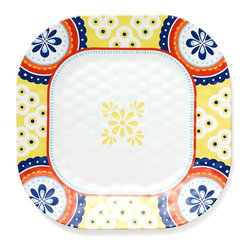 Q Squared NYC - Montecito Border Dinner Plate - Transport your dining table to historical Montecito with the beautiful, vibrant colors of this collection, inspired by the intricate tiles and textures of the romantic city.