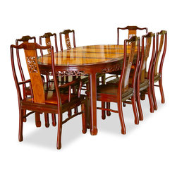 "China Furniture and Arts - 80in Rosewood Flower Design Oval Dining Table with 8 Chairs - Exhibiting its pleasing simple lines in a distinct Ming (1368-1644) style, this exquisite dining set is intricately carved in cherry blossom and birds motif on the chairs and the edges of the table. Completely handmade with solid rosewood by artisans in China using traditional joinery technique. The table can be extended to 80"" with two 18"" removable leaves for your convenience. Its elegant natural rosewood finish with mahogany trim round out its quiet beauty."