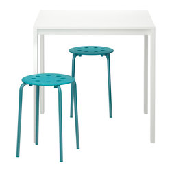 Melltorp/Marius Table and 2 Stools, White/Blue - This table and two stools from Ikea is a super affordable option for a tight space. I love the pop of color the stools bring.