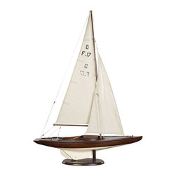 "Thos. Baker - dragon olympic sail racer - Classic Olympic racer from the 1930s is still popular today. Beautiful mahogany planked hull. Reproduced from approved racing class blueprints.  Hands-on sailing history for lovers of wooden craft. This is a real scale model of the legendary regatta racer, a full 39"" tall.�"