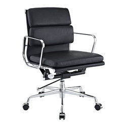 Modway - Mid-Back Leather Conference Office Chair in Black Genuine Leather - This stylish black leather office chair is the perfect chair to add to your home office. The chair has a modern feel that will create a bold look in the space. It is adjustable making it ideal for use by multiple people living in your home.
