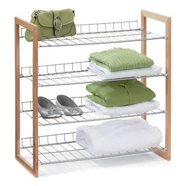 Honey Can Do - Honey-Can-Do 4-Tier Closet Accessory Shelf - Wood Frame - Multi-purpose wood and steel shelving unit provides fours levels of easily accessible storage space with a contemporary design. Natural wood frame provides style and structure. Sturdy steel shelves are perfect for sweaters, shoes, bags, or anything you'd like to keep organized and visible. Elevated shelf back keeps items in their place. Perfect for any room in the house.