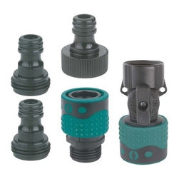 Gilmour Premium Complete Garden Hose Quick-Connect Set - Provides quick and easy connections to faucet, hose and hose end accessories. Eliminates time consuming on/off threading. Contains: One female hose end connector with water shut-off valve. Two male hose end adapters. One female faucet connector. One male faucet adapter. Durable, rustproof polymer construction. Interchangeable with most polymer quick connector systems.