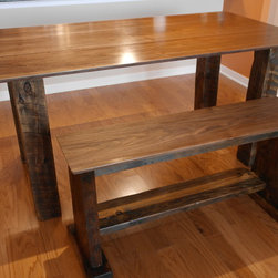 Dining Room Tables - Rustic black walnut dining room table with bench seating