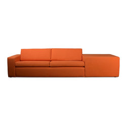 TrueModern - Marfa Modern Sofa, Saffron - Marfa Modern Sofa's top-stitched, clean corners and lines make it sleek, yet the soft back and bottom cushions are perfect for comfy lounging.