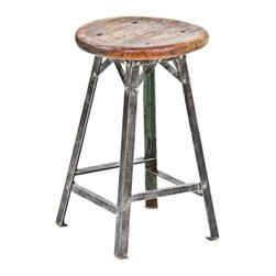 Early 20th Century American Industrial Stool - Rustic, industrial-style bar stools are perfect for cool British pub style. These were salvaged from a factory in Chicago.