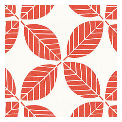 Coral Modern Leaf Indoor Outdoor Fabric - Modern outdoor trellis of tropical leaves in bright coral red & white. It's ready to soak up the sun! Recover your chair. Upholster a wall. Create a framed piece of art. Sew your own home accent. Whatever your decorating project, Loom's gorgeous, designer fabrics by the yard are up to the challenge!