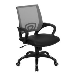 Flash Furniture - Flash Furniture Office Chairs Mesh Executive Swivels X-GG-YARG-10A671B-PC - For a contemporary and stylish mesh computer chair for your home or office there's no need to look any further. This ergonomic task chair with mesh back from Flash Furniture will provide a comfortable and functional addition to any setting. Featuring a cool mesh back, leather seat, and a designer base, this computer chair will provide all the necessities for a home or office desk chair with a few extra features. [CP-B176A01-GRAY-GG]