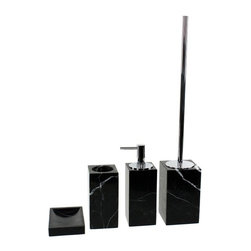 Gedy - Black Marble Bathroom Accessory Set in 4 pieces - Luxurious black marble bathroom accessory set perfect for a modern bathroom.