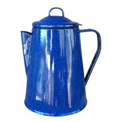 Blue Enamelware Pitcher - This is a lovely, vintage enamelware pitcher.  It is blue with tiny white speckles.  The enamel is in good condition with only a few small chips around the rim, which adds to its charm.
