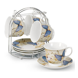 Lorren Home Trend - Butterfly Porcelain 9-piece Coffee/ Tea Set on Metal Stand - Throw a garden-themed tea party of sip your morning coffee with this delightful porcelain cup and saucer set. Adorned with a classic butterfly pattern,this adorable set features service for four and comes with a convenient metal storage stand.