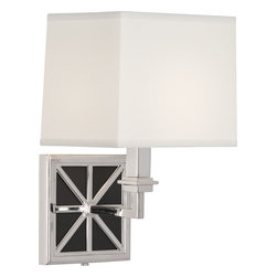 Robert Abbey - Directoire Wall Sconce, Silver Plate/White Glass - Glamour and opulence greet you as you walk into the room. The metal frame forms an elegant pattern that contrasts perfectly with the frosted glass background and sophisticated shade.