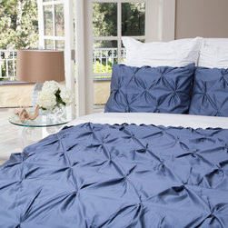 400 Thread Count Pintuck Duvet Cover, The Valencia Slate Blue - Full of volume and elegance, this 400 thread count gray pintuck duvet will add textural dimension to subtly bring your room to life.  Multiple pintucks are sewn to perfection.