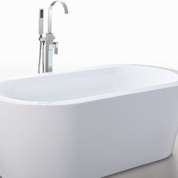 "HelixBath Pella Freestanding Acrylic Modern Bathtub 59"" White - Designs created for bathing purists. The curves and lines are well conceived & uncomplicated. Helixbath�s well tailored soaking tubs provide an ergonomic comfortable spa experience. Featuring an easy to clean 3M Fade Resistant finish and stainless steel frame, Pella is the very definition of beautiful longevity. Smooth lineal side lines meet precisely curved angled ends. Pella has been hailed the most sophisticated contemporary curved design in the Helix line. Faucets pictured are for display purposes and not included with this tub."