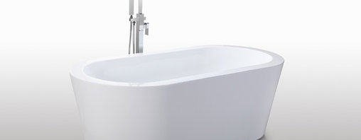 """HelixBath Pella Freestanding Acrylic Modern Bathtub 59"""" White - Designs created for bathing purists. The curves and lines are well conceived & uncomplicated. Helixbath�s well tailored soaking tubs provide an ergonomic comfortable spa experience. Featuring an easy to clean 3M Fade Resistant finish and stainless steel frame, Pella is the very definition of beautiful longevity. Smooth lineal side lines meet precisely curved angled ends. Pella has been hailed the most sophisticated contemporary curved design in the Helix line. Faucets pictured are for display purposes and not included with this tub."""