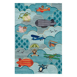 Momeni Rug - Momeni Rug Lil Mo Whimsy 8' x 10' LMJ10 Sky LMOJULMJ10SKY80A0 - The Lil Mo Whimsy Collection delivers creativity and inspiration to playroom. With a vibrant and energetic color palette and gorgeous hand carving for depth, these rugs are hand tufted from soft mod-acrylic for both durability and comfort. From forest critter to ocean creatures and mod flowers to playful bugs, the Lil Mo Whimsy Collection is in a class by itself.