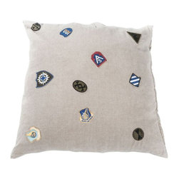 Linen Pillow in Beige with Antique Patches - $225 Est. Retail - $90 on Chairish. -