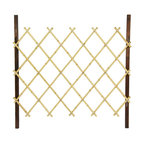 Oriental Furniture - 3 ft. Tall Diamond Bamboo Fence - Natural - Folding Japanese bamboo fence or gate. Constructed using durable kiln-dried wood finished in a dark walnut stain and naturally light bamboo poles. Lacquered bamboo forms a diamond pattern which allows convenient folding for easy storage or transportation. Use as a decorative garden or pathway border, or porch fence, then easily fold and store during bad weather.